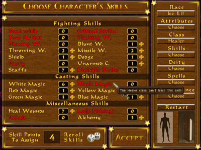 TOD skills screen